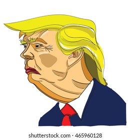 AUGUST 09, 2016: Vector caricature cartoon portrait of Republican Candidate for President of the United States Donald Trump. Trump profile view. Caricature Trump. Elections.