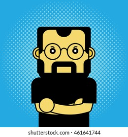 August 1, 2016: A vector illustration of a portrait of Steve Jobs on halftone background.