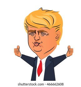 August 10, 2016: Character portrait of Donald Trump thumb up giving speech white background. Positive caricature prominent politician who is running for President. Donald trump presidential candidate.