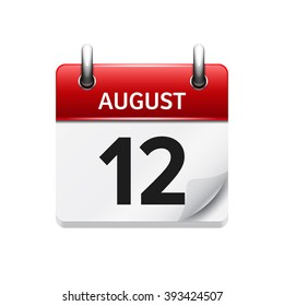 August 12. Vector flat daily calendar icon. Date and time, day, month. Holiday.