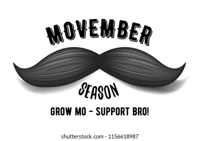 AUGUST 15, 2018 - Movember - prostate cancer awareness month. Men's health concept. Moustaches and lettering background. Good for poster, banner, card design.