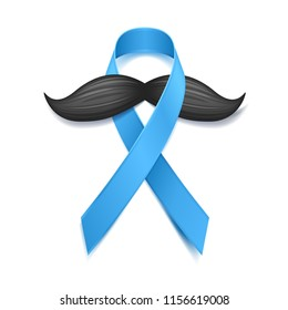 AUGUST 15, 2018 - Movember - prostate cancer awareness month. Men's health concept. Moustaches and blue ribbon symbol. Good for poster, banner, card design.