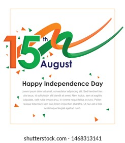 August 15, the concept of celebrating Indian Independence Day with Wave and boxes for text