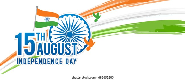 August 15th, Indian Independence Day Banner Vector illustration, Indian flag and Ashoka chakra wheel (spinning wheel) and watercolor brush stroke with copy space.