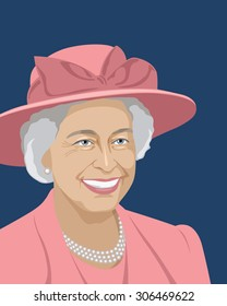 August 16, 2015: A vector illustration of a portrait of Queen Elizabeth II on a blue background