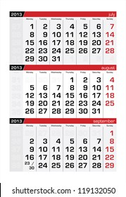 August 2013 Three-Month Calendar