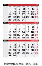 August 2014 Three-Month Calendar