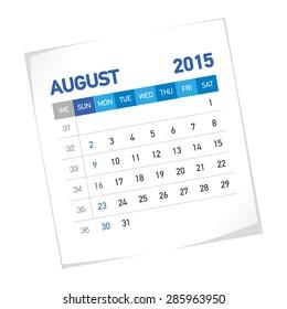 August 2015 American Calendar