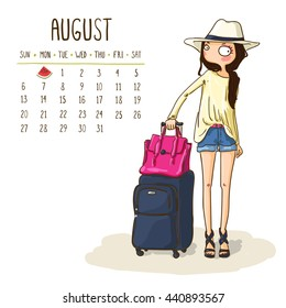 August. 2017 calendar with cute girl go to travel. Girl with a suitcase. Summer voyage. Can be used like greeting cards.