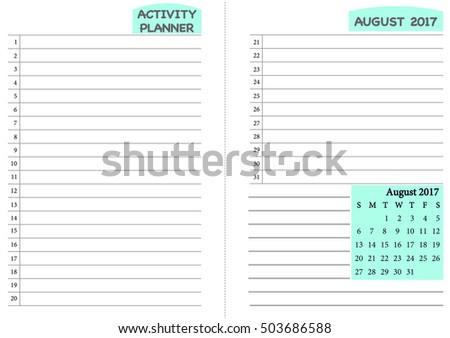 august 2017 calendar template monthly planner のベクター画像素材