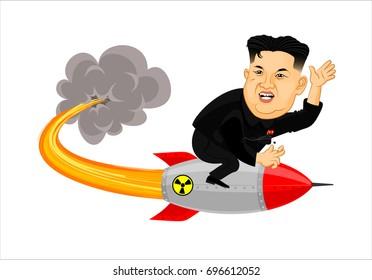 August, 2017: Illustration of supreme leader of North Korea, Kim Jong Un on atomic bomb, vector