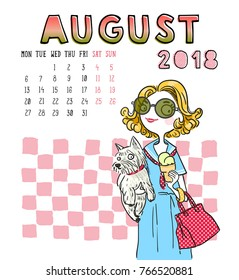 August. 2018 calendar. Cute girl with dog. Can be used like greeting cards.