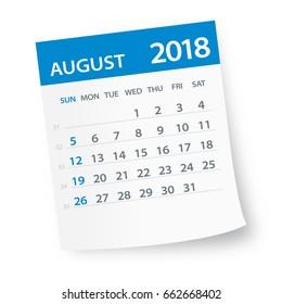 August 2018 Calendar Leaf - Vector Illustration