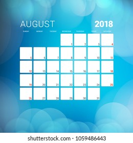 August 2018. Calendar planner design template with abstract background. Week starts on Sunday