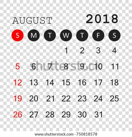 august 2018 calendar calendar planner design template week starts on sunday business vector