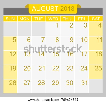 august 2018 calendar planner design template week starts on sunday