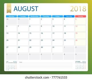 AUGUST 2018, illustration vector calendar or desk planner, weeks start on Monday, size of paper for printing.