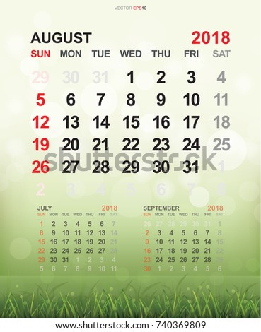 august 2018 monthly calendar template 2018 stock vector royalty