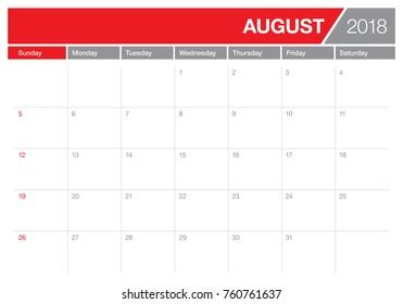 August 2018 planner calendar vector illustration, simple and clean design.