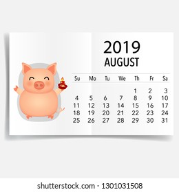 August 2019 calendar page. Vector illustration.