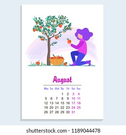 August 2019 calendar sheet template. Vector illustration of a young girl picking apples in the garden, harvesting flat design