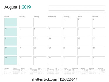 August 2019 desk calendar vector illustration, simple and clean design.