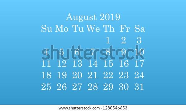 August 2019 Desktop Wallpaper Calendar 2019 Stock Vector