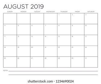 August 2019 Minimal Horizontal One Month Calendar Page