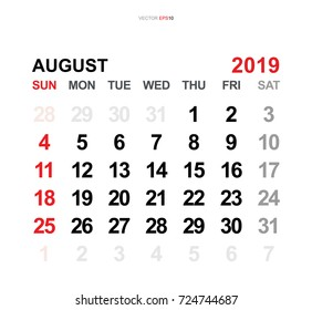 February 2019 Vector Monthly Calendar Template Stock Vector Royalty