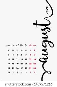 August 2020 Calendar. Desk Paper Calendar 2020 Design Concept. Vector Set. 12 Months and Cover. Corporate Calendar Design Template A5.