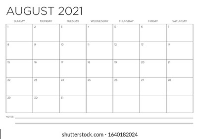 August 2021 Single Month Calendar Page Fits 11x17 Inch Print Modern Blank Template