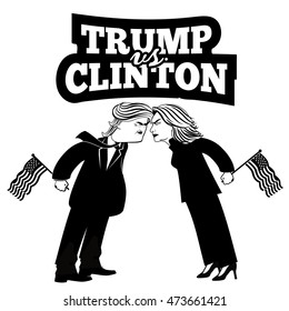 AUGUST 25, 2016: Illustrative editorial cartoon of Republican Donald Trump and Democrat Hillary Clinton fighting for the presidency. EPS 10 vector.