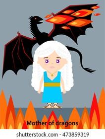 AUGUST 25, 2016: Vector illustration of Daenerys Targarye. Game of thrones