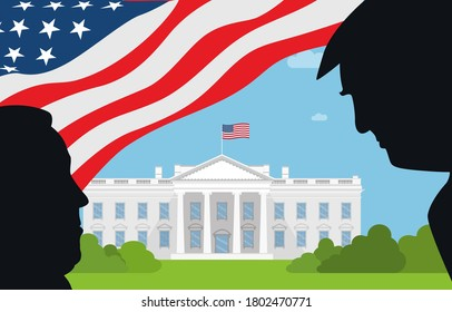 August 25, 2020 -  Character Illustration of Joe Biden facing Donald Trump. on white house background. Illustrating the 2020 US presidential election