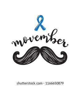 August 28, 2018. illustrative editorial. Movember cancer awareness Vector icon. Mustache with hand lettering text and blue ribbon symbolize Movember Awareness Month. Against prostate cancer poster