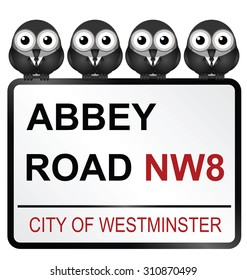 August 29, 2015: Representation of the Beatles perched on City of Westminster Abbey Road sign, Abbey Road being the title of their iconic album released in 1969