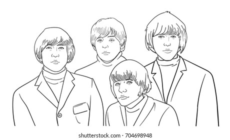 AUGUST 29 2017: vector illustration of the Beatles band members on white background. World Beatles Day topic (January 16)