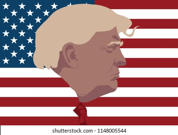 AUGUST 3, 2018, Vector illustration art, the side of Donald Trump Charactor's face, the President of United states on national USA flag background, retro vintage style.