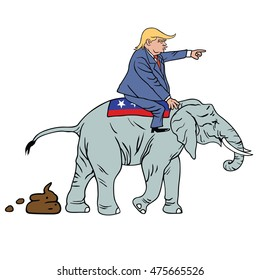 August 30, 2016: Donald Trump Riding Republican Elephant Caricature
