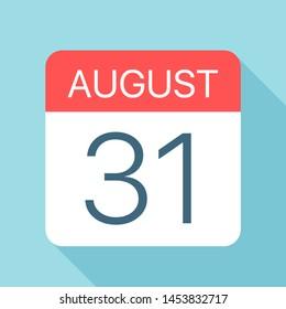 August 31 - Calendar Icon - Vector Illustration