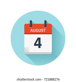 August 4. Vector flat daily calendar icon. Date and time, day, month 2018. Holiday. Season.