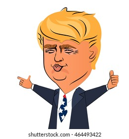 August 6, 2016: Character portrait Donald Trump thumb speech. Positive caricature politician President America. Donald trump president USA. Positive impression Donald Trump. Positive President.