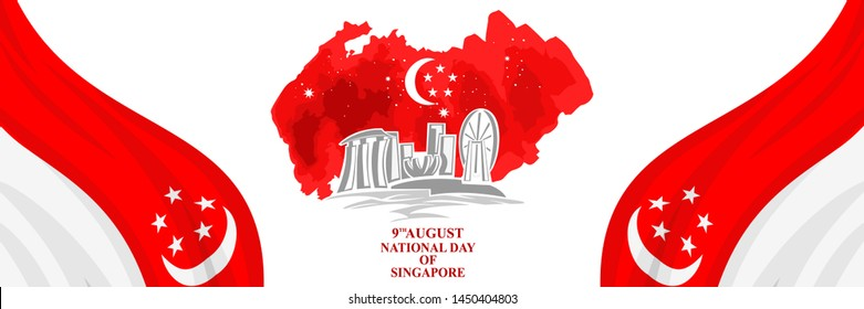 August 9, Singapore national day vector illustration. Suitable for greeting card, poster and banner.