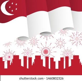 August 9th Singapore's Independence Day. Singapore National Day concept vector with flag, colourful fireworks, patriotic designe for flyer, banner, landing page.