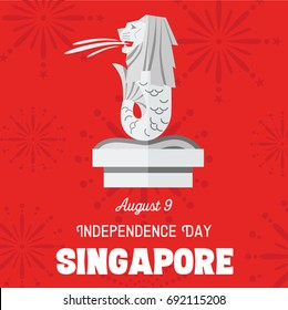 August 9th Singapore's independence day, Vector Illustration