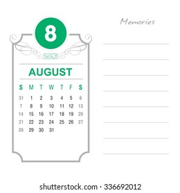 August Calendar 2016 Vector Design Template. Week Starts Sunday. Event Calendar. place for notes and special text. vector illustration