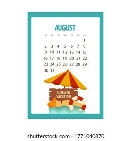 August calendar 2020 summer month, umbrella and lifebuoy on a white background, beach vacation, vector illustration