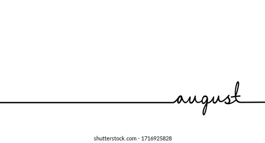 August - continuous one black line with word. Minimalistic drawing of phrase illustration