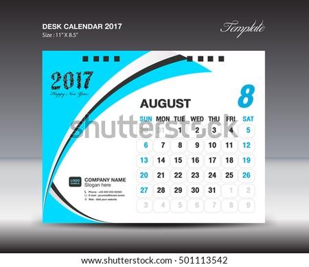 august desk calendar 2017 design template stock vector royalty free