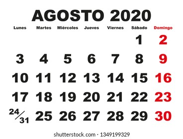 August month in a year 2020 wall calendar in spanish. Agosto 2020. Calendario 2020